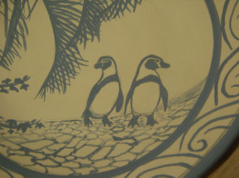ペンギン絵皿