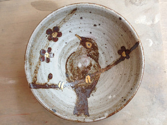 メジロ鉄絵小皿