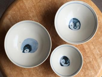 ペンギン茶碗3点
