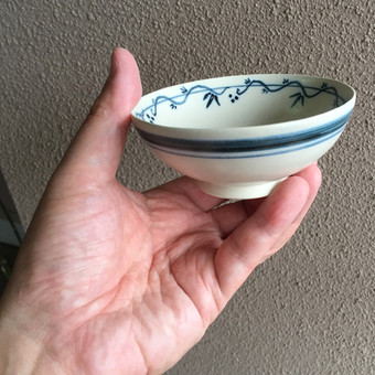 ボタンインコ染付茶碗を手に持ったところ