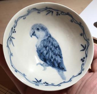 シロハラインコ染付茶碗
