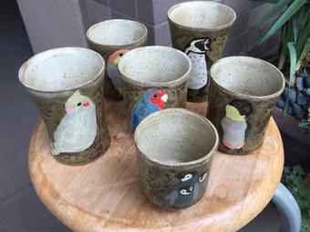 鳥とペンギンの湯呑み&フリーカップ