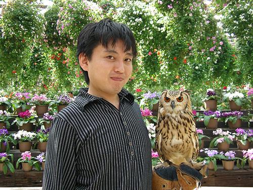 フクロウと記念撮影