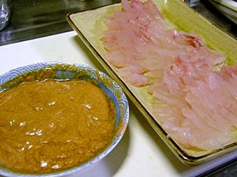 カワハギ肝醤油のお刺身